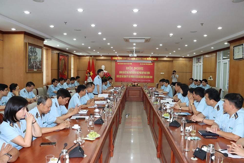 Hội nghị đánh giá kết quả thực hiện Quy chế phối hợp hoạt động giữa hai đơn vị, ngày 10/4/2021 tại Hải Phòng. Ảnh: T.Bình