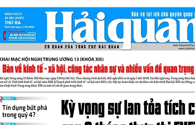 Những tin, bài hấp dẫn trên Báo Hải quan số 120 phát hành ngày 6/10/2020