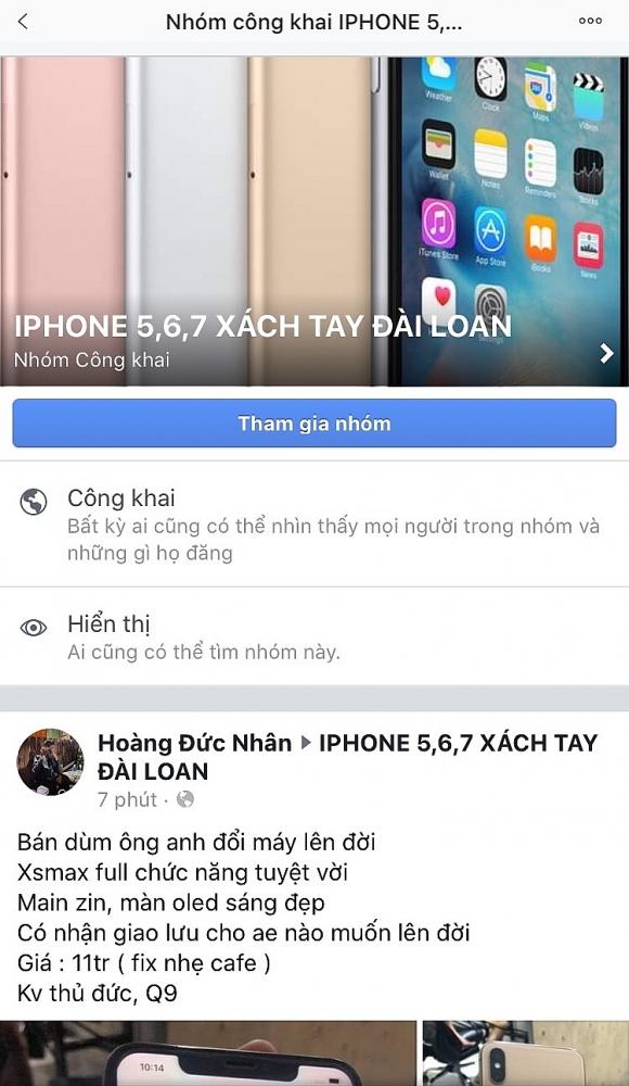 Trên một số hội nhóm, việc buôn bán Iphone xách tay vẫn diễn ra