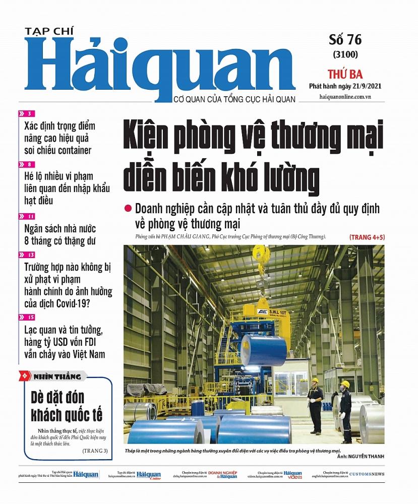 Những tin, bài hấp dẫn trên Tạp chí Hải quan số 76 phát hành ngày 21/9/2021