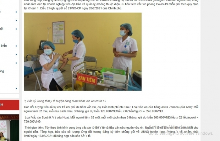 Sở Y tế Bắc Giang lí giải việc thông báo tiêm vắc xin phòng Covid-19 có giá tới 360 nghìn/liều