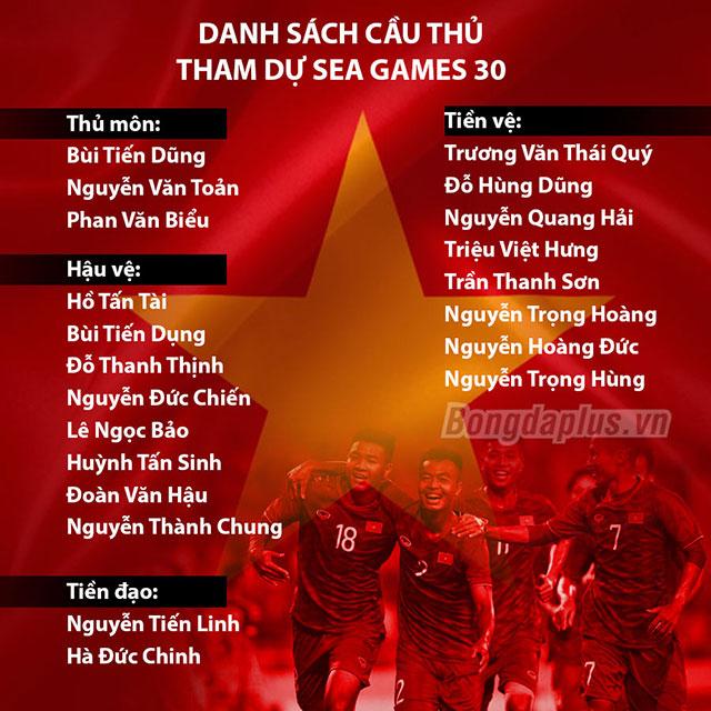 hlv park hang seo gut danh sach 21 cau thu chinh thuc du sea games 30