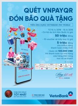 Quét VNPAYQR, đón bão quà tặng từ VietinBank