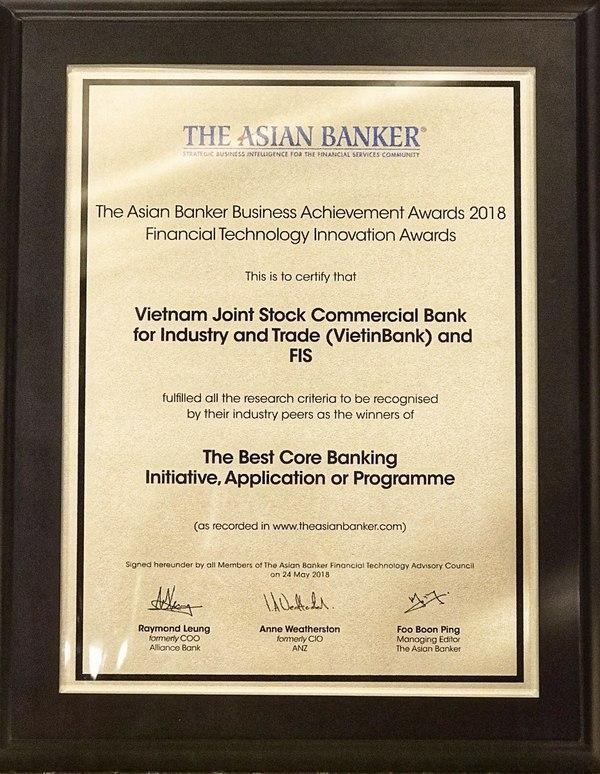 vietinbank nhan cu dup giai thuong uy tin tu the asian banker