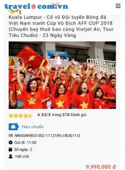 """""""Nóng"""" các tour đi Malaysia tiếp lửa tuyển Việt Nam đá trận Chung kết"""