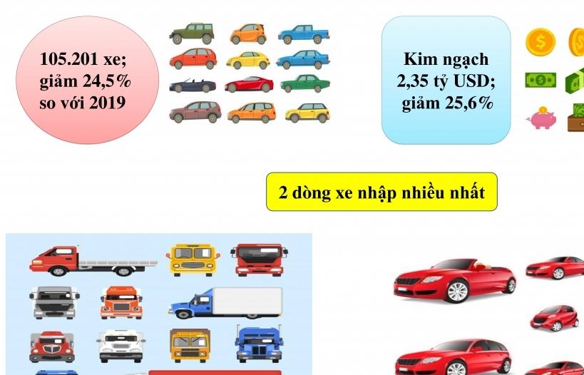 Infographics: Hơn 100.000 ô tô nhập khẩu năm 2020