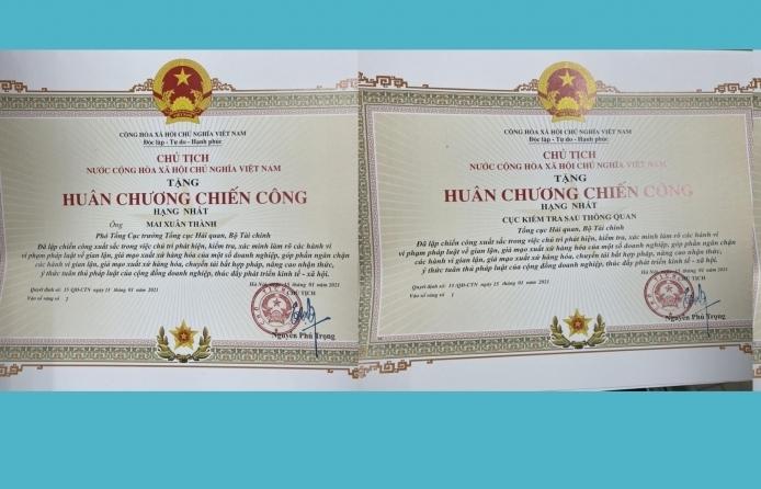 Tặng Huân chương Chiến công cho 1 tập thể và 2 cá nhân thuộc Tổng cục Hải quan