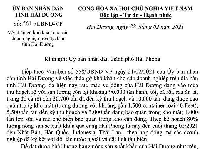 Hải Dương tiếp tục đề nghị Hải Phòng hỗ trợ để xuất khẩu 90.000 tấn rau củ