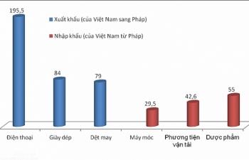 Việt Nam xuất siêu gần 350 triệu USD sang Pháp