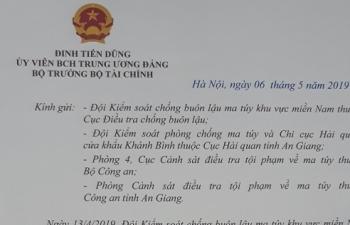 Bộ trưởng Đinh Tiến Dũng khen thành tích bắt giữ 30 kg ma túy ở An Giang