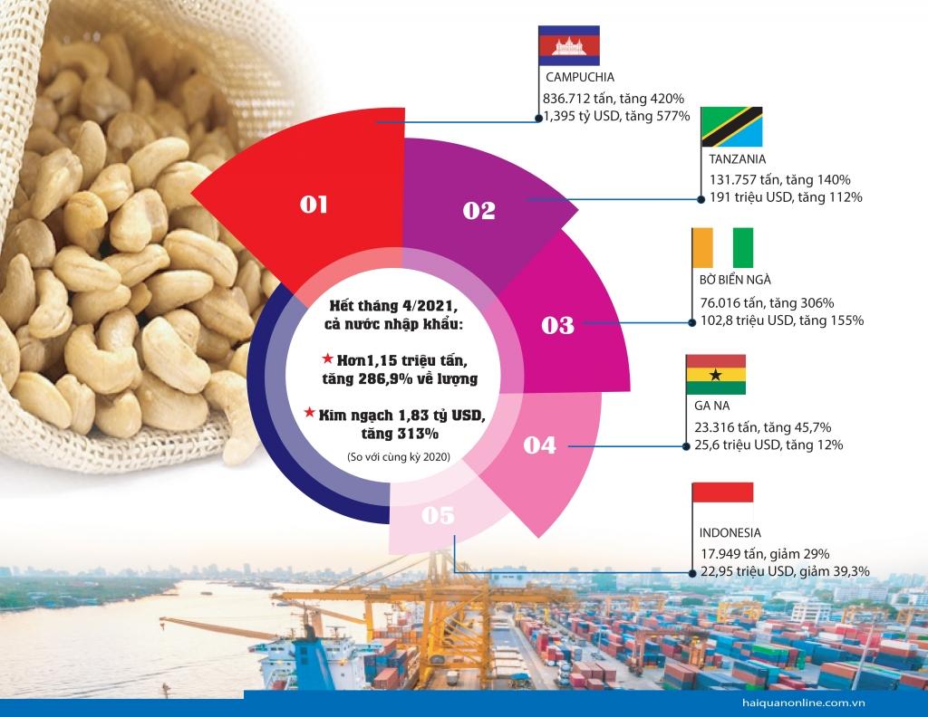 Infographics: Bất ngờ nhập khẩu hạt điều từ Campuchia tăng 420%