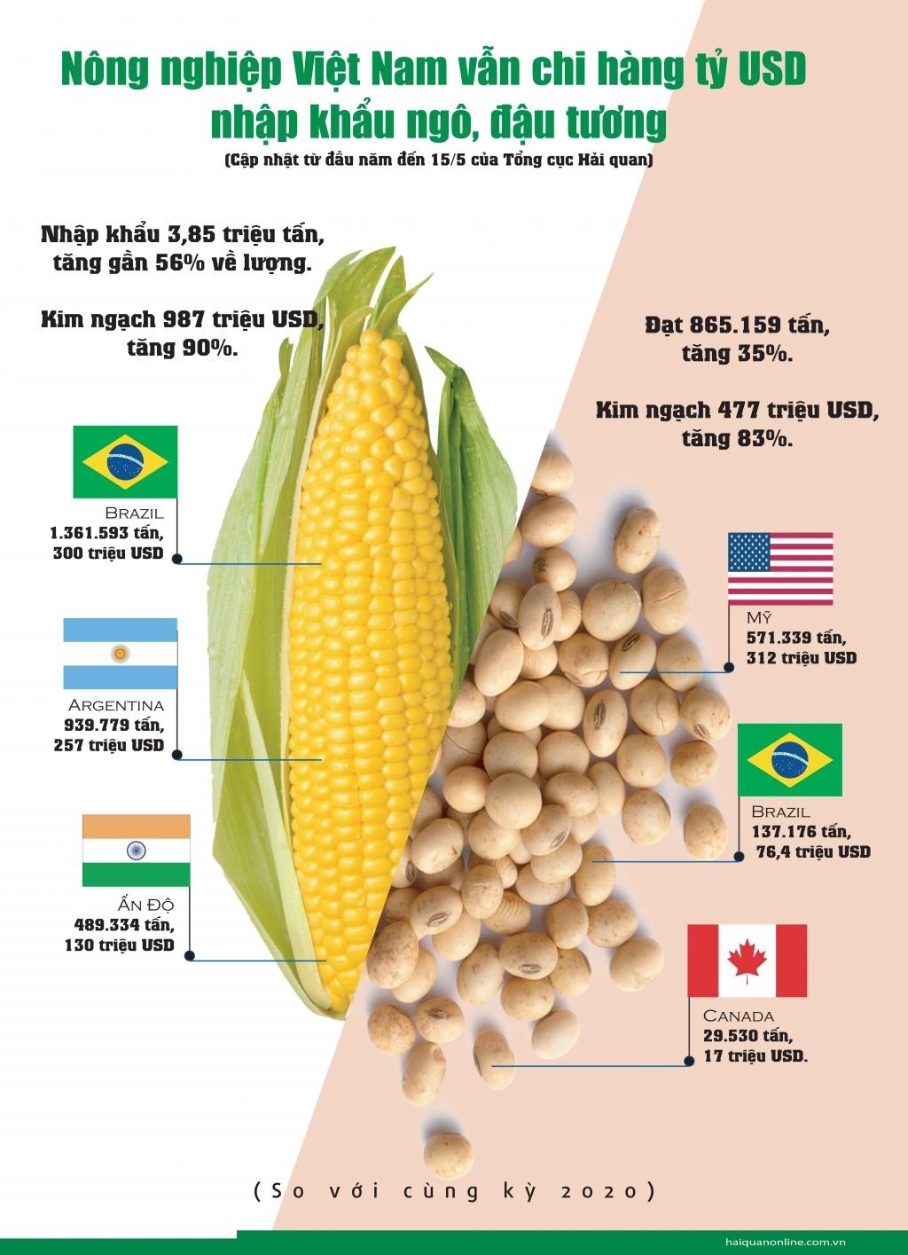 Infographics: Nước nông nghiệp, Việt Nam vẫn chi hàng tỷ USD nhập khẩu ngô, đậu tương