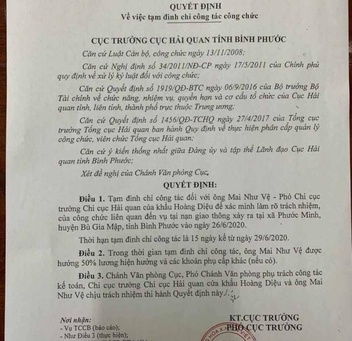 Tạm đình chỉ công tác Phó Chi cục trưởng Hải quan Hoàng Diệu, Bình Phước