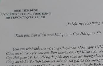 Bộ trưởng Đinh Tiến Dũng gửi Thư khen thành tích triệt phá vụ án 80 bánh heroin