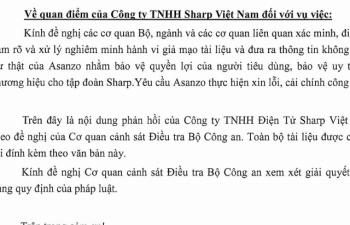Sharp Việt Nam tiếp tục tố cáo Asanzo
