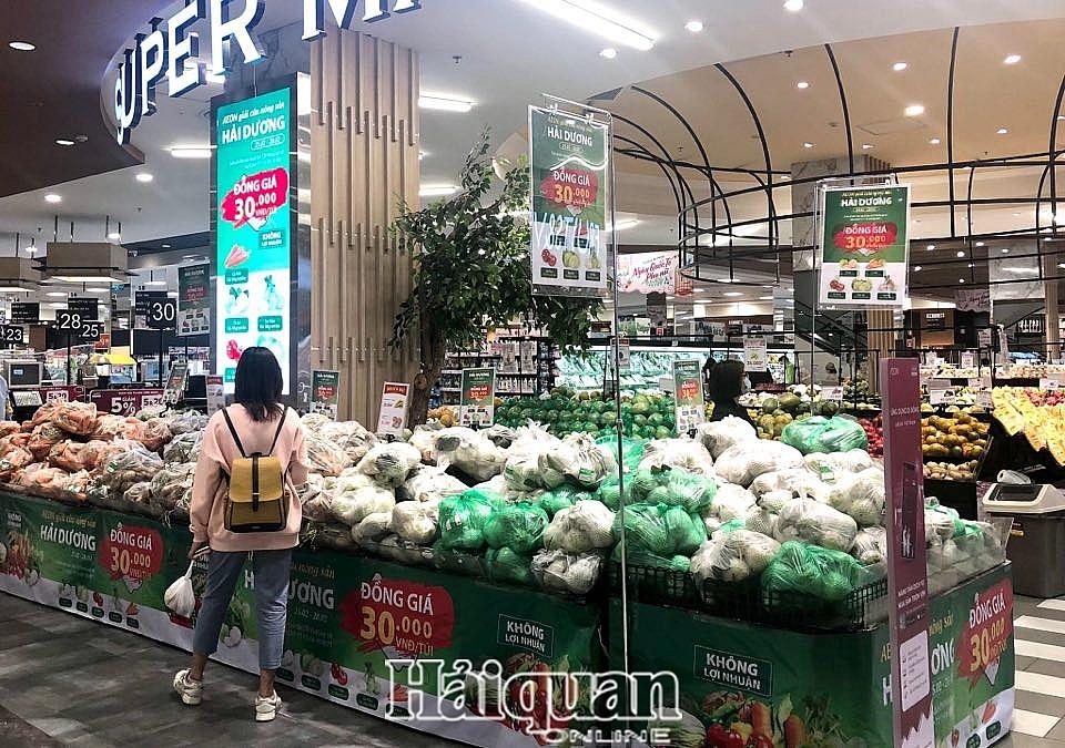 Nhiều siêu thị tham gia giải cứu nông sản của Hải Dương. Ảnh: H.Dịu