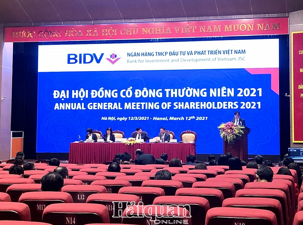 Ngân hàng TMCP Đầu tư và Phát triển Việt Nam (BIDV) tổ chức ĐHĐCĐ thường niên 2021. Ảnh: H.Dịu