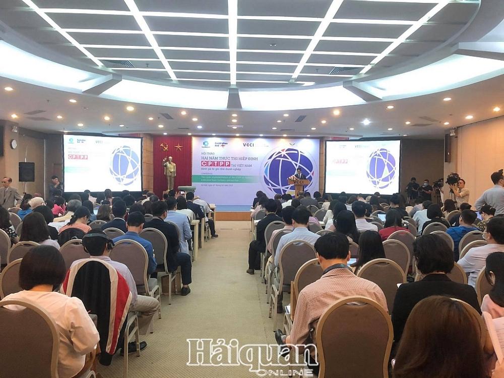 """hội thảo công bố Báo cáo """"Việt Nam sau 02 năm thực thi CPTPP từ góc nhìn doanh nghiệp"""". Ảnh: H.Diu"""
