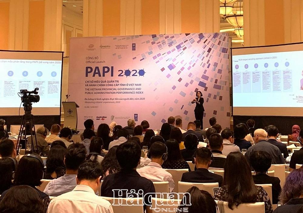 Lễ công bố Báo cáo Chỉ số Hiệu quả Quản trị và Hành chính Công cấp tỉnh (PAPI) năm 2020. Ảnh: H.Dịu