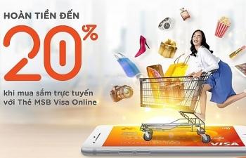 Mua sắm online được hoàn tiền tới 20% bằng thẻ tín dụng mới của MSB