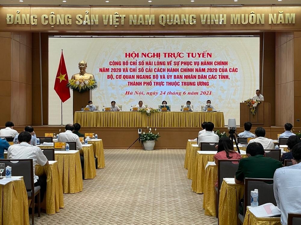 Toàn cảnh hội nghị công bố các chỉ số về CCHC. Ảnh: NHNN