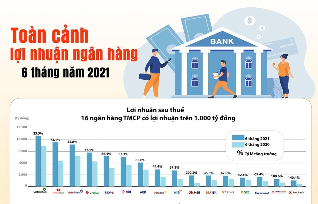 Infographics: Bức tranh lợi nhuận ngân hàng nửa đầu năm 2021