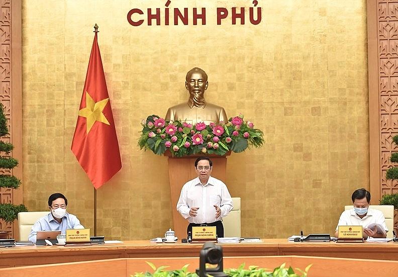 Thủ tướng Chính phủ Phạm Minh Chính chủ trì phiên họp Chính phủ thường kỳ tháng 8/2021. Ảnh: VGP