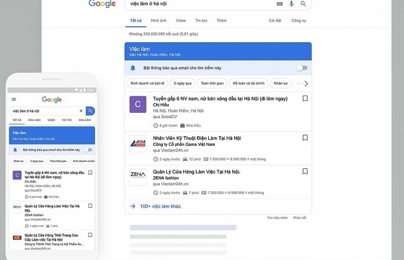 Tìm việc làm dễ dàng hơn với tính năng Kiếm việc làm trên Google
