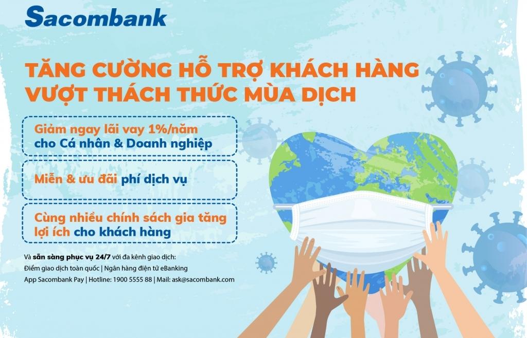 Sacombank giảm lãi suất 1%/năm cho hàng loạt khách hàng