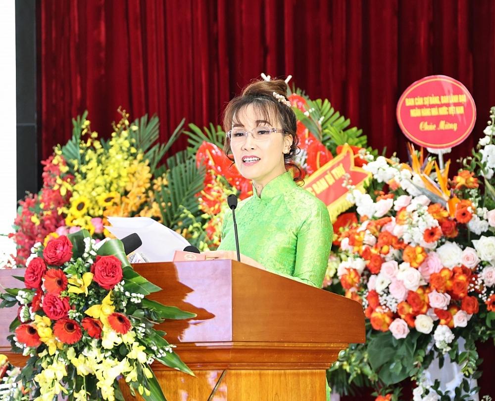 Nữ tỷ phú Nguyễn Thị Phương Thảo phát biểu tại Đại hội Thi đua yêu nước ngành Ngân hàng lần thứ VIII