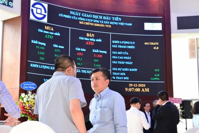 Cổ phiếu VCG thăng hoa trong phiên chào sàn