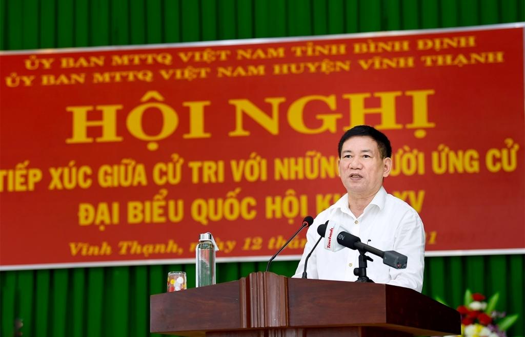 Bộ trưởng Hồ Đức Phớc tiếp xúc cử tri tại huyện Vĩnh Thạnh, Bình Định