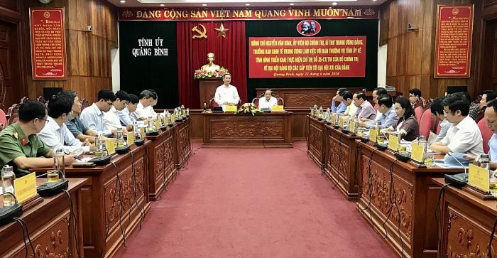 Trưởng Ban Kinh tế Trung ương làm việc với tỉnh Quảng Bình
