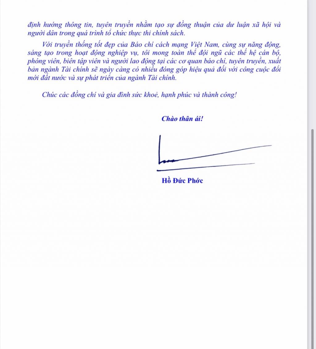 Bộ trưởng Hồ Đức Phớc gửi Thư chúc mừng các cơ quan báo chí, tuyên truyền, xuất bản ngành Tài chính nhân ngày 21/6