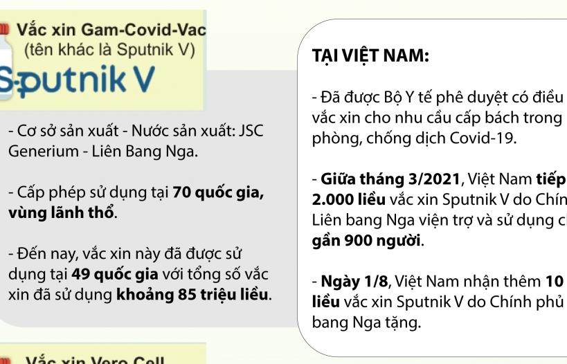 Infographics: 6 loại vắc xin Covid-19 được cấp phép sử dụng tại Việt Nam