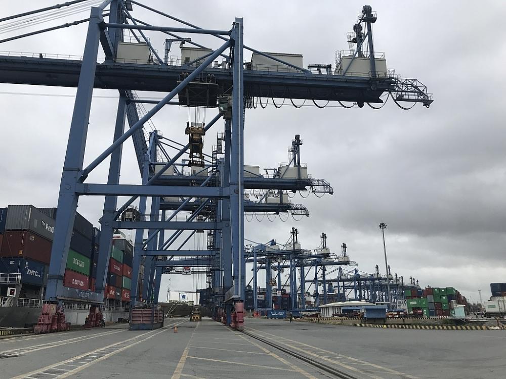 Nhiều trang thiết bị máy móc hiện đại được đầu tư tại cảng Cát Lái. Ảnh: T.H