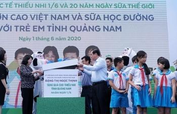 Hơn 34.000 trẻ em Quảng Nam được uống sữa miễn phí