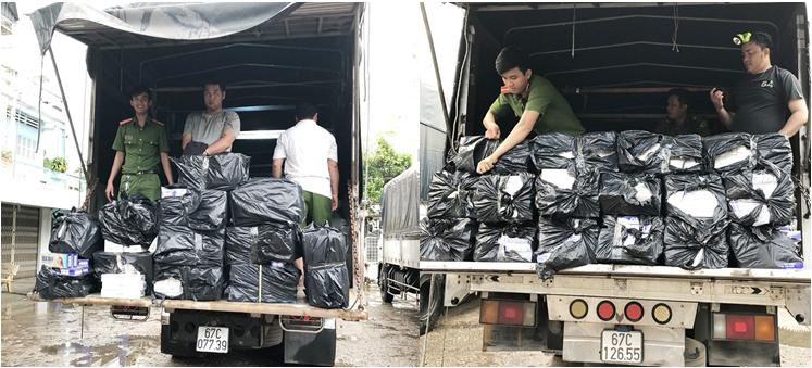 Bắt hai ô tô tải vận chuyển 7.000 bao thuốc lá lậu