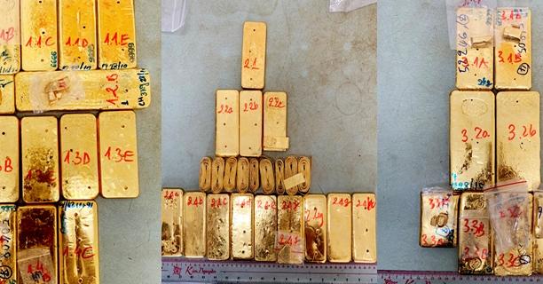 Ba đối tượng vận chuyển 51 kg vàng lậu đã đầu thú