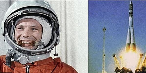 Hình ảnh Gagarin và tàu vũ trụ Vostok 1