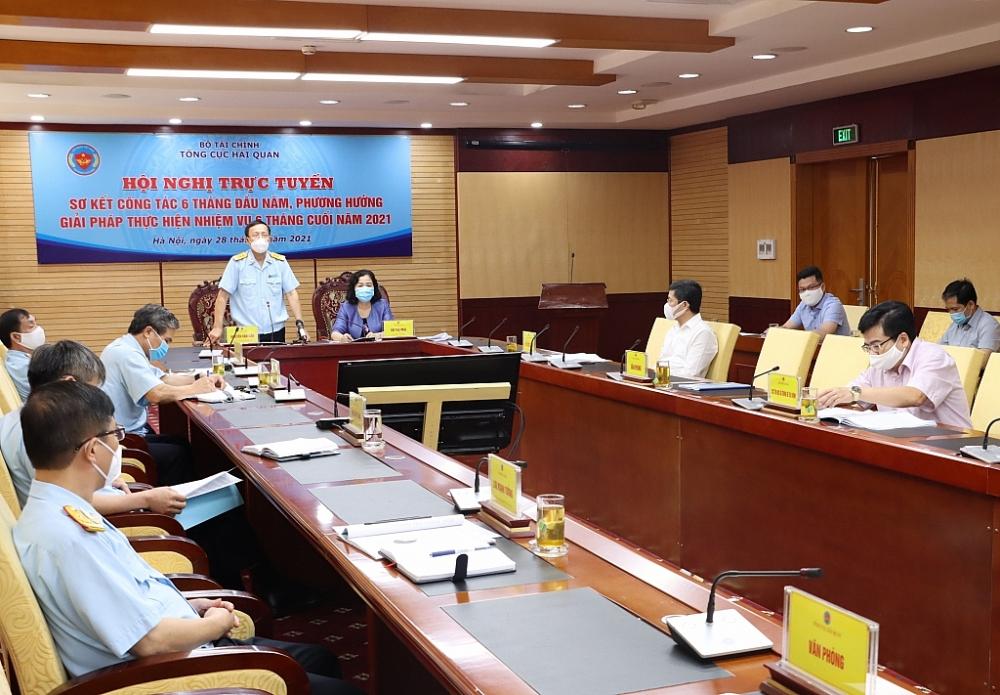 Tổng cục trưởng Nguyễn Văn Cẩn chủ trì Hội nghị trực tuyến sơ kết công tác 6 tháng đầu năm, phương hướng giải pháp thực hiện nhiệm vụ 6 tháng cuối năm 2021 của Tổng cục Hải quan. Ảnh: Q.HÙNG