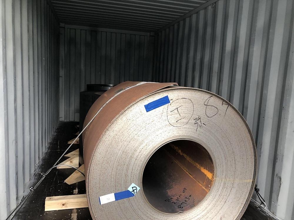 Lô thép nhập khẩu vi phạm của Công ty Thép Việt Vinh. Ảnh: T.Hòa