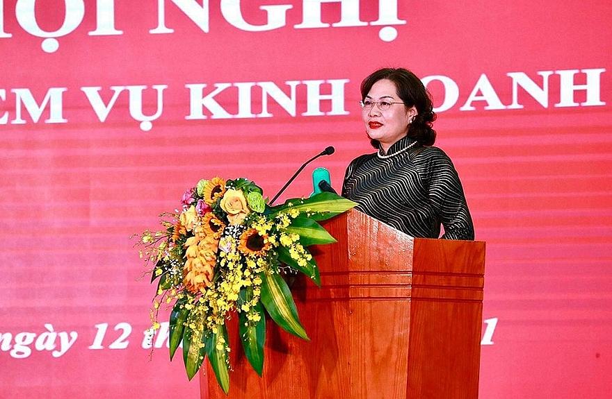 Đồng chí Nguyễn Thị Hồng - Bí thư Ban cán sự Đảng, Thống đốc Ngân hàng Nhà nước Việt Nam phát biểu chỉ đạo.