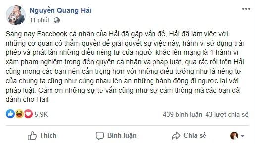Quang Hải bị đối tượng xấu hack facebook, phát tán tin nhắn riêng tư