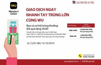 """Cùng Agribank """"Giao dịch ngay – Nhanh tay trúng lớn cùng WU"""""""