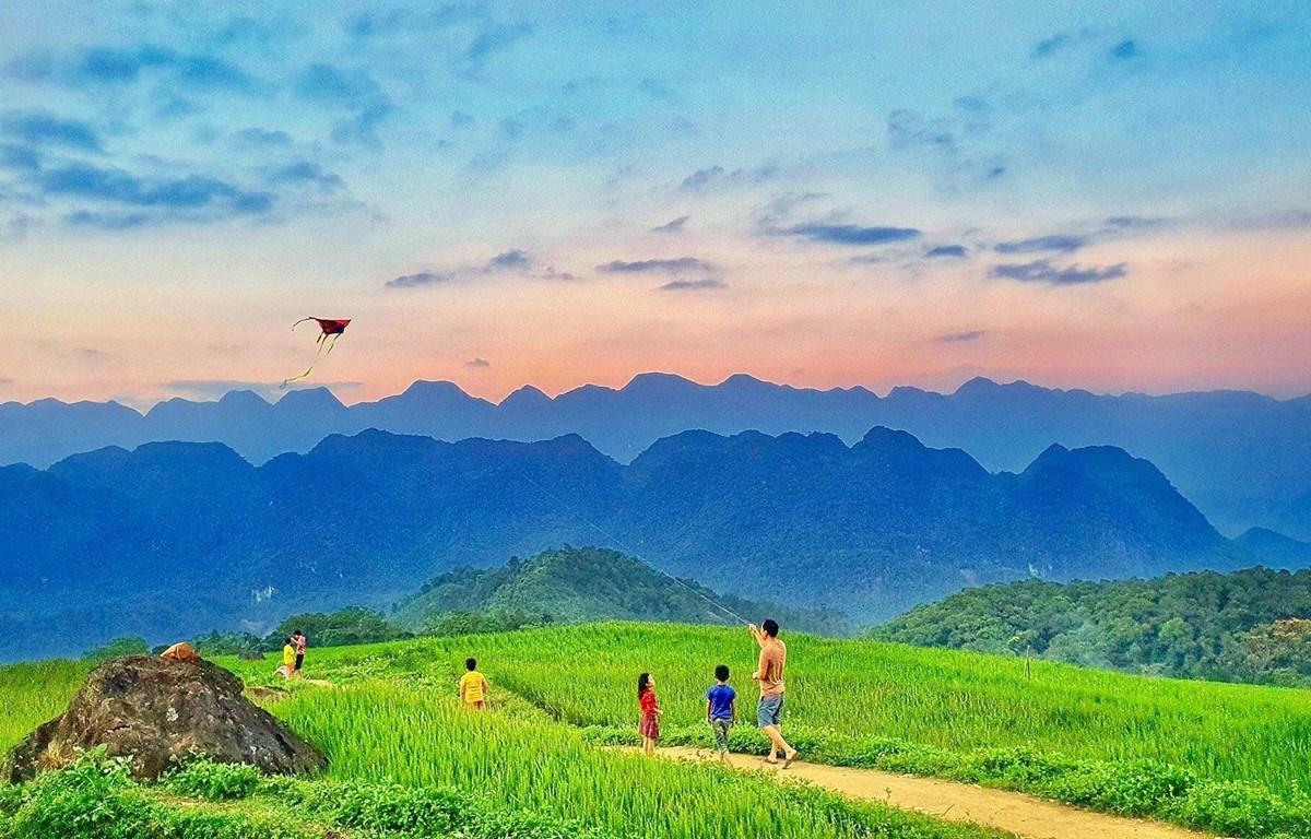Du khách thả diều giữa bức tranh thiên nhiên tuyệt đẹp. (Ảnh: CTV/Vietnam+)