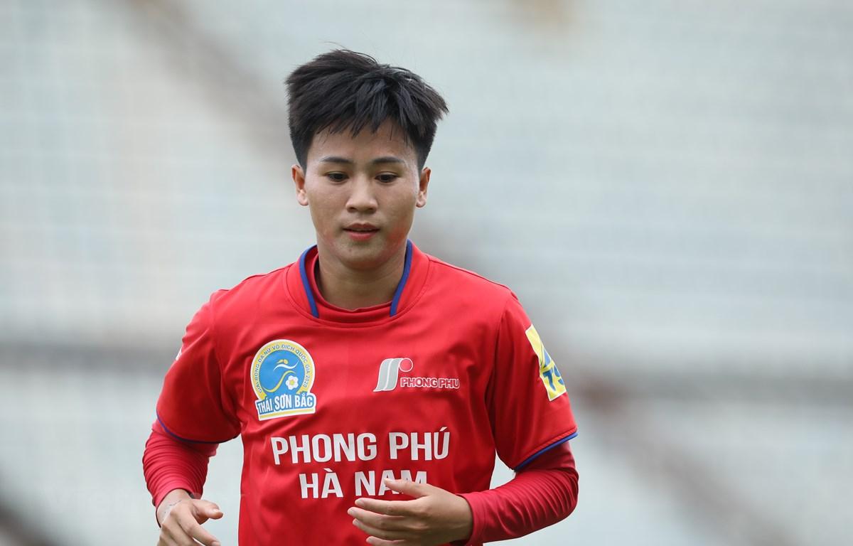Tiền đạo Tuyết Dung đã là viên chức của của Sở Văn hoá, Thể thao & Du lịch tỉnh Hà Nam. (Ảnh: Hiển Nguyễn/Vietnam+)