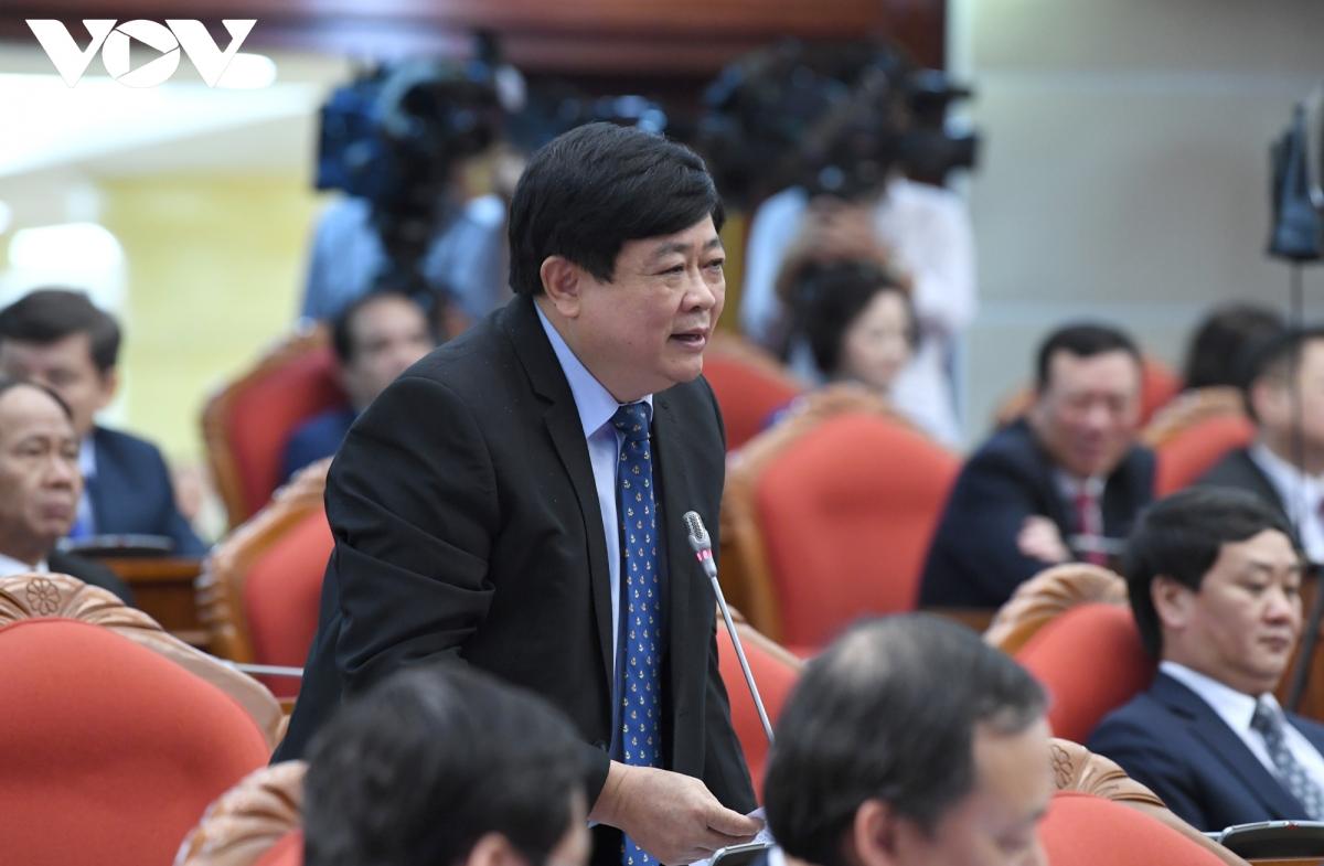 Ủy viên Trung ương Đảng, Tổng Giám đốc Đài Tiếng nói Việt Nam Nguyễn Thế Kỷ phát biểu tại phiên làm việc sáng 9/10. Ảnh: Ngọc Thành