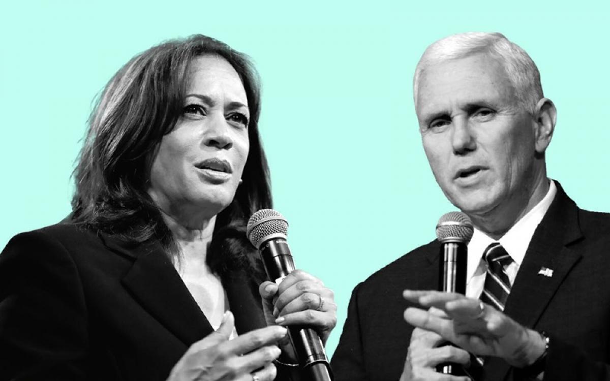 Hai ứng viên Phó Tổng thống Mỹ, Pence (phải) và Harris. Ảnh: NPR.