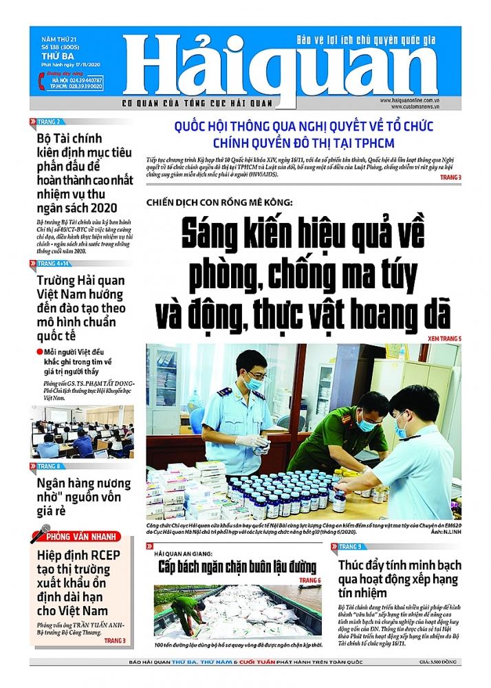 Những tin, bài hấp dẫn trên Báo Hải quan số 138 phát hành ngày 17/11/2020